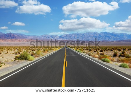 Great American road, crossing a huge Death Valley in California. A trip to the high speed - stock photo