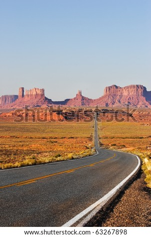 Great American road. Monument Valley in the red desert - stock photo