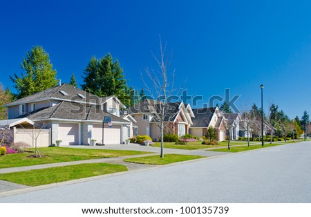 Great and comfortable neighborhood in the suburbs of Vancouver. Canada. - stock photo