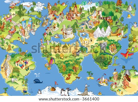 Great and funny cartoon world map. All sightseeings in all continents - stock photo