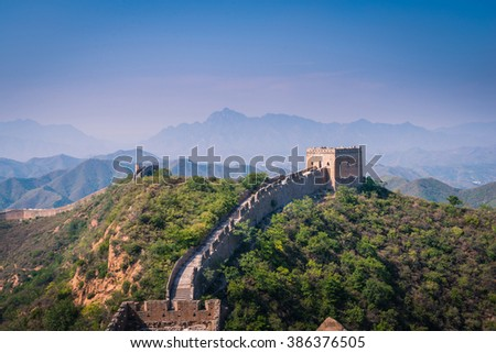 Great and magnificent view of Great Wall of China - stock photo