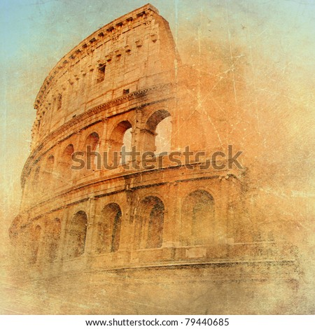 great antique Rome - Coloseum , artwork in retro style - stock photo