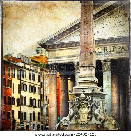 great antique Rome, Pantheon - vintage cards series - stock photo