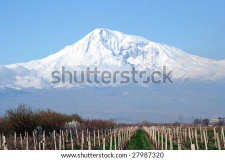 Great Ararat mountain, view from Armenia - stock photo