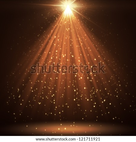 great background with shining stars and rays - stock photo