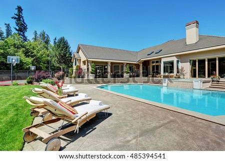 Luxury House Pool backyard pool stock images, royalty-free images & vectors