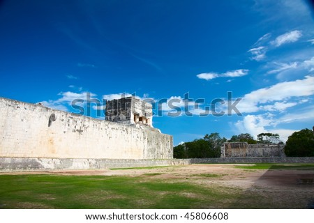 "Great Ball Court for playing ""pok-ta-pok"" near Chichen Itza pyramid, Mexico - stock photo"