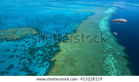 Great Barrier reef channel Whitsunday passage Queensland aerial view