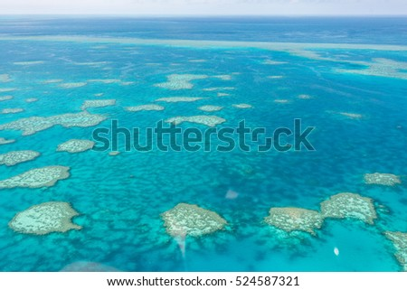 Great Barrier Reef from above, Queensland, Australia. Heart reef