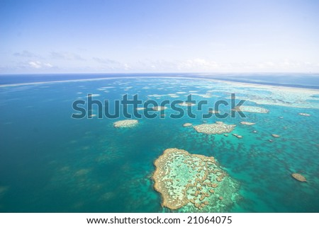 Great Barrier Reef from the sky - stock photo