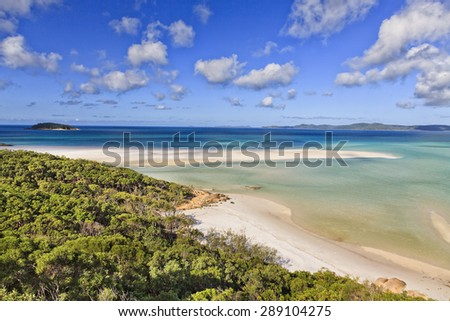 Great Barrier reef in Coral Sea near Australian coast in QUeensland - aerial view on Whitehaven white silica sand beach on a sunny summer day - stock photo