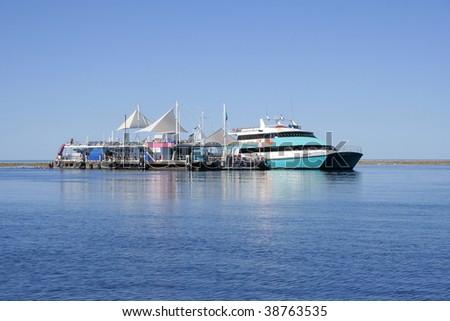 Great Barrier Reef pontoon, Queensland, Australia - stock photo