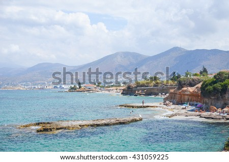 Great beach on the coast of the picturesque island of Crete, Greece.