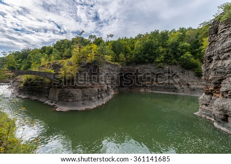 Great Bend Overlook At Letchworth State Park In New York - stock photo