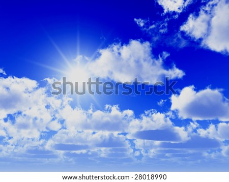 great blue sky background and shiny sun