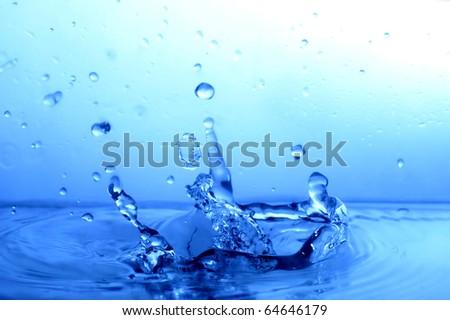 great blue water splash - stock photo
