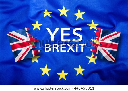 Great Britain and european union flag. United Kingdom exit from EU - Brexit text.  - stock photo