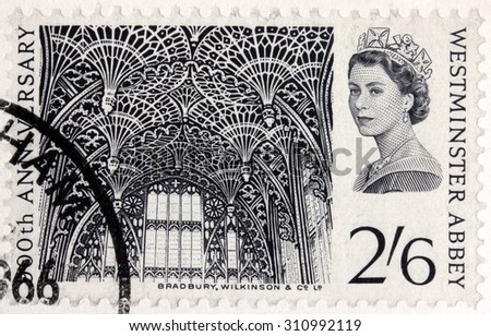 GREAT BRITAIN - AUGUST 24, 2015: A stamp printed by GREAT BRITAIN shows image portrait of Queen Elizabeth II against Westminster Abbey (Collegiate Church of St Peter), circa February, 1966 - stock photo