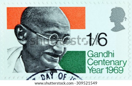 GREAT BRITAIN - AUGUST 24, 2015: A stamp printed by GREAT BRITAIN shows Mohandas Karamchand Gandhi - leader of Indian independence movement in British India, circa August, 1969 - stock photo
