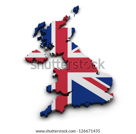 Great Britain background. Shape 3d of United Kingdom map with flag isolated on white. - stock photo