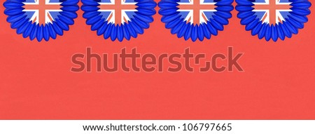 Great Britain British Flag pennants buntings isolated on red background with room for your text - stock photo