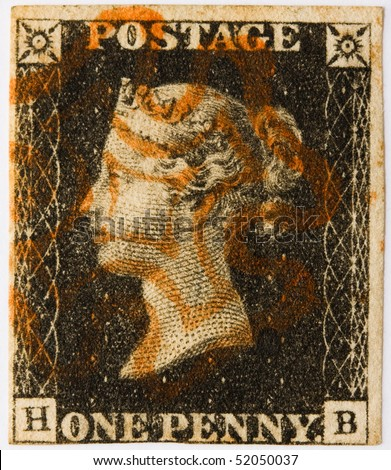 GREAT BRITAIN - CIRCA 1840: A Penny Black, the world's first self-adhesive, pre-paid postage stamp with a red Maltese Cross postmark, Great Britain, circa 1840. - stock photo