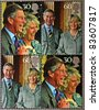 GREAT BRITAIN - CIRCA 2005: A set of four stamps printed in England commemorating wedding the Prince of Wales and Camilla Parker Bowles, circa 2005. - stock photo