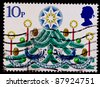 GREAT BRITAIN - CIRCA 1980: A stamp printed by Great Britain, shows Christmas Tree with Candles, circa 1980 - stock photo