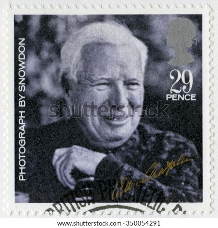 GREAT BRITAIN - CIRCA 1985: A stamp printed by Great Britain shows portrait of Charlie Chaplin (1889-1977), by Snowdon, series 20th Centenary Stars and Directors of Film, circa 1985 - stock photo