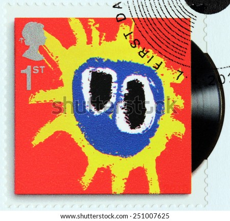 GREAT BRITAIN - CIRCA 2010: A stamp printed by GREAT BRITAIN shows Primal Scream album Screamadelica (1971) cover, circa 2010. - stock photo