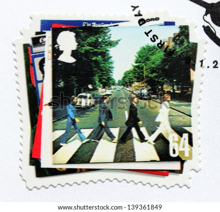 "GREAT BRITAIN - CIRCA 2007: a stamp printed by GREAT BRITAIN shows the Beatles album ""Abbey Road"" cover, circa 2007. - stock photo"