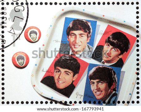 GREAT BRITAIN - CIRCA 2007: A stamp printed by Great Britain shows the Beatles memorabilia, circa 2007. - stock photo