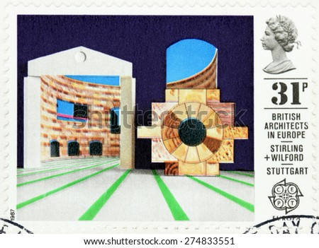 GREAT BRITAIN - CIRCA 1987: A stamp printed by GREAT BRITAIN shows view of  Staatsgalerie (State Gallery) -  an art museum in Stuttgart, Germany. British architects in Europe series, circa 1987. - stock photo