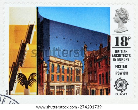 GREAT BRITAIN - CIRCA 1987: A stamp printed by GREAT BRITAIN shows view of Willis Faber and Dumas Building, Ipswich. Sir Norman Foster, architect. British architects in Europe series, circa 1987. - stock photo