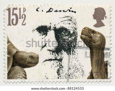 GREAT BRITAIN - CIRCA 1982: A stamp printed in GB, shows portrait and turtles, devoted Death Centenary of Charles Darwin (1809-1882), circa 1982