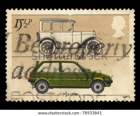 GREAT BRITAIN - CIRCA 1982: A stamp printed in Great Britain shows British cars Seven & Metro and Austin, circa 1982 - stock photo