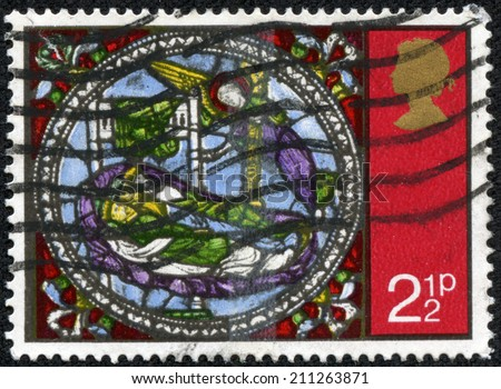 GREAT BRITAIN - CIRCA 1971: A stamp printed in Great Britain shows Dream of the Kings, from Stained Glass Windows, Canterbury Cathedral, circa 1971 - stock photo