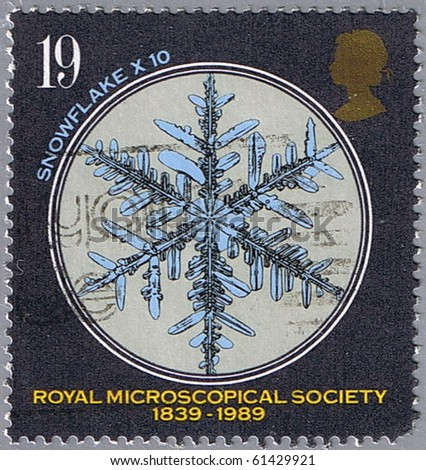 GREAT BRITAIN - CIRCA 1989: A stamp printed in Great Britain shows snowflake, series, circa 1989