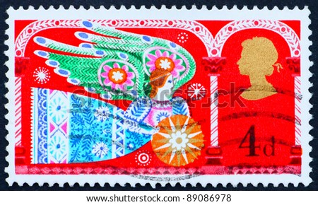 GREAT BRITAIN - CIRCA 1969: A stamp printed in the Great Britain shows Angel, Christmas, circa 1969