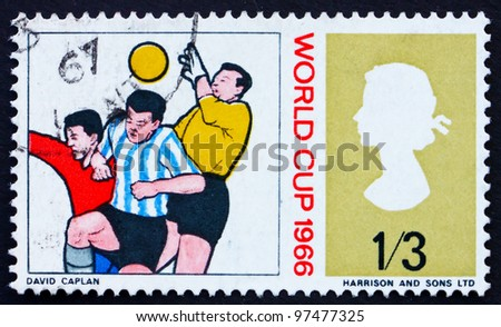 GREAT BRITAIN - CIRCA 1966: a stamp printed in the Great Britain shows Goalkeeper and Two Soccer Players, World Soccer Championship 1966, Wembley circa 1966