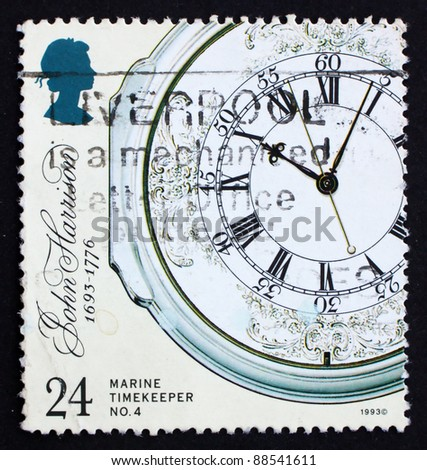 GREAT BRITAIN - CIRCA 1993: a stamp printed in the Great Britain shows Marine Chronometer by John Harrison, face, inventor, circa 1993
