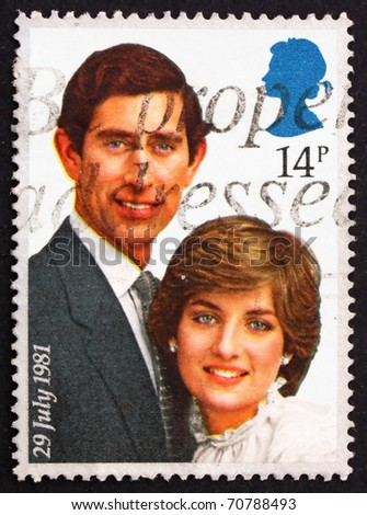GREAT BRITAIN - CIRCA 1981: a stamp printed in the Great Britain shows Prince Charles and Lady Diana, circa 1981 - stock photo