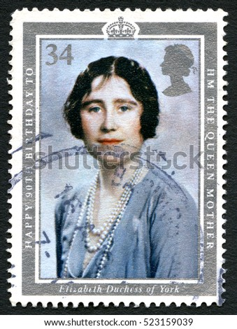 GREAT BRITAIN - CIRCA 1990: A used British postage stamp celebrating the 90th Birthday of Elizabeth the Queen Mother, circa 1990.