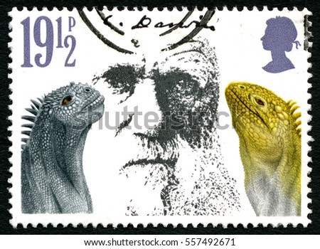 GREAT BRITAIN - CIRCA 1982: A used postage stamp from the UK, depicting a portrait of Charles Darwin and reptiles, circa 1982.