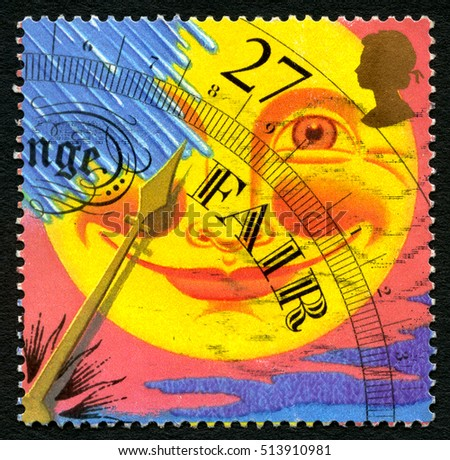 GREAT BRITAIN - CIRCA 2001: A used postage stamp from the UK, depicting an illustration of a weather barometer showing Fair weather, circa 2001.