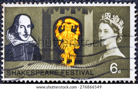 GREAT BRITAIN - CIRCA 1964: a vintage stamp printed in the Great Britain shows Shakespeare Festival stamp, circa 1964