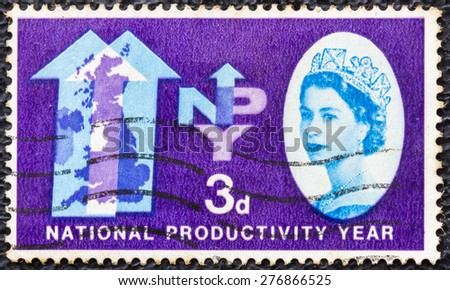 GREAT BRITAIN - CIRCA 1962: a vintage stamp printed in the Great Britain shows Two Arrows and Map of the British Isles, National Productivity Year, circa 1962 - stock photo