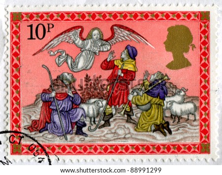 GREAT BRITAIN CIRCA 1979: stamp printed by Great Britain, shows Angel appearing before the shepherds, circa 1979
