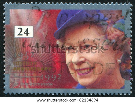 GREAT BRITAIN - CIRCA 1992: stamp printed by Great Britain, shows queen Elizabeth II, circa 1992 - stock photo