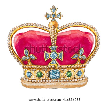 Great britain crown. Watercolor illustration. - stock photo